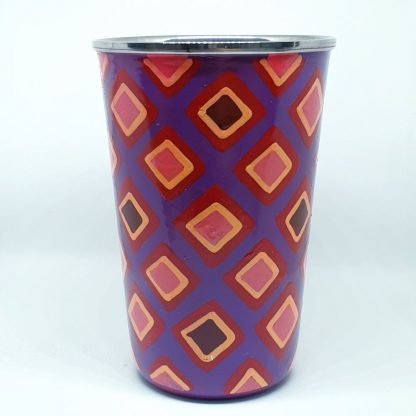 Handpainted stainless steel cup Purple squares